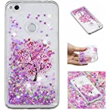For Huawei P8 Lite 2017 Case With Screen Protector,Huawei P9 Lite 2017 Bling Girly Case For Women,Aearl Cute Glitter Liquid Case Shiny Flowing Floating Soft Protective Cover For Huawei Honor 8 Lite