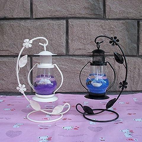 MMMM-Gancho pequeño candelabro jalea de linterna de retro romántico niñas regalos de cumpleaños adornos,2 blanco