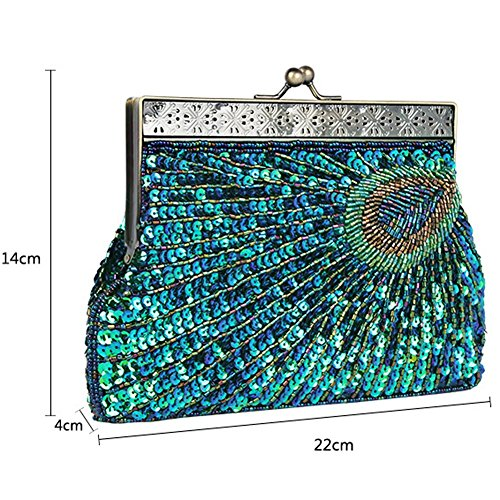Vintage Peacock Antique Perlen Pailletten Abend Handtasche Dinner Party Clutch Taschen Geldbörse. 22 X 14 X 4 Cm blue