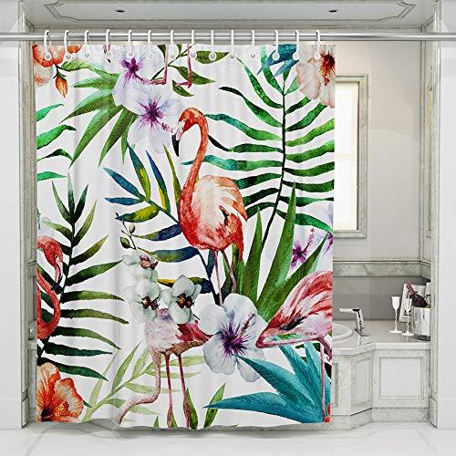 JOTOM Flamingo Duschvorhänge Grüne Tropical Palm Blätter Badewannenvorhang Schimmelresistenter und Wasserabweisend Shower Curtain mit 12 Duschvorhangringen 180x180cm (FlamingoB) (Flamingo Duschvorhang)