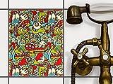 creatisto Küchenfolie   Muster-Aufkleber Folie Sticker Mosaik-Fliesen Bad-Fliesen Wanddeko   20x25 cm Muster Ornament Monster Doodle - 1 Stück