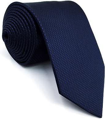 shlax&wing Cravatta Tinta Unita Blu Navy Seta da uomo Seta Navy