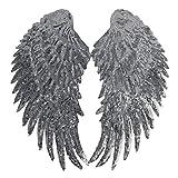 Likecrazy Damen Schmetterling Flügel Weiche Schal Damen Schmetterling Flügel Umhang Schal Poncho Kostüm Applique große Herz Augen Stoff Bühnenkostüm Zubehör (Silber,one size)