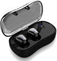 Syllable True Wireless Bluetooth Headphones, In-ear Sport Running Earbuds with Microphone and Charging Box HIFI Sound Sweatpr