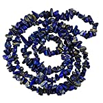 """Natural Lapis Gemstone, 4-9mm chip, Cabochon ,Cabochon cut with centerdrilledhole (see string direction in photo),35"""" Strand packaging, grade B.Treatment: None. From Africa.Our Lapis Lazuli beads are made of naturalstone,and very attractive.They areg..."""