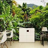 Wandgemälde Benutzerdefinierte 3D Fototapete Retro Regenwald Kokospalme Wandbild Wohnzimmer Sofa Schlafzimmer Wandbild Wasserdicht,250Cm(H)×360Cm(W)