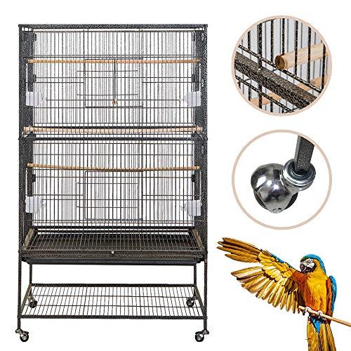 Froadp 79x51,8x132cm Voliera Grande per Uccelli Gabbia in Metallo con Rotelle per Pappagalli Uccelli