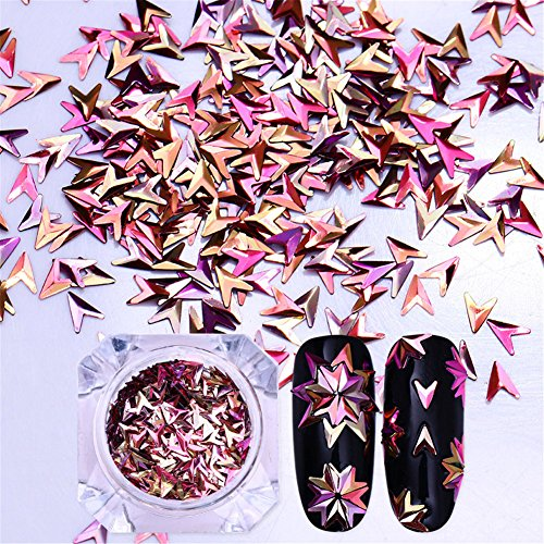 Born Pretty 1 Box Chameleon Nail Sequins V-shaped Iridescent Flakies 3D Nail Art Decoration