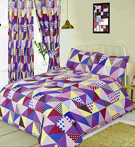 Geo Tröster Set (Doppelbett Geo Patchwork Berry,/Bettbezug Set, geometrische Formen Quadrate Dreiecke Gingham Überprüfen Polka Dot Spots Linien Streifen, violett aubergine creme pink blau)