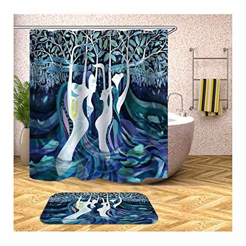 SonMo Duschvorhang+Badematte Wasserdicht Anti-Bakteriell Anti-Schimmel Badewanne Vorhang mit 12 Duschvorhangringen Waschbar Polyester Vier Frauen Bunt Badzimmer Teppich 120X180CM Z4476