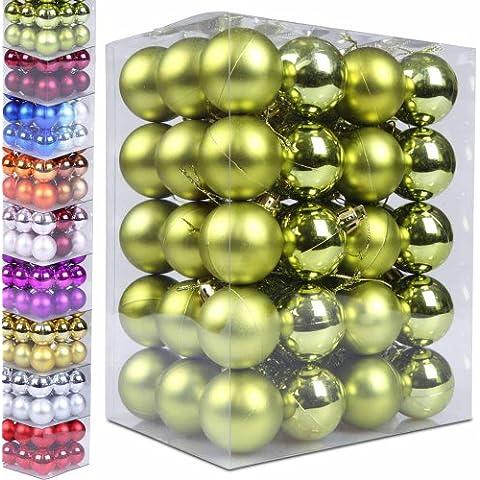 Jago - Pequeñas bolas de Navidad - 60 unidades - verde - varios tamaños y colores a elegir