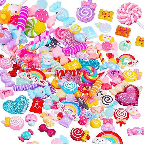 Mixed Candy Set, Kunstharz Lollipop schlamm Perlen Herstellung für Heimwerker Scrapbooking Basteln Kinder Haarspange Schmuck Zubehör, verschiedene Farben und Formen für Kinder