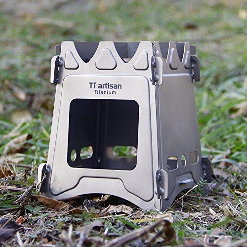 Yiwa Campingkocher, Outdoor Split Camping Herd Solid Titanium Portable Windschutz für Outdoor Camping Picknick Angeln (Titanium Campingkocher)