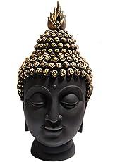 Om Arts Polyresin Buddha Head Figurine (10.5 Cm X 7 Cm X 13 Cm)- Black & Gold