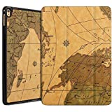 "New IPad 2017 9.7"" Inch A1822 / A1823 Case ( Vintage WORLD-MAP ) Ultra Slim Lightweight PU Leather Magnetic Smart Folio Flip Case Flip Cover For Apple New IPad 9.7 Inch (2017 Launched) Flip Cover Case (Map - Brown)"