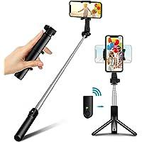 Bovon Perche Selfie, Mini Trepied Smartphone Extensible Selfie Stick Bluetooth avec Télécommande, 360° Rotatif Bâton…