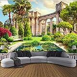 HONGYUANZHANG Benutzerdefinierte 3D Wandbild Tapete Europäischen Römischen Spalte Garten Landschaft Fresko Wohnzimmer Sofa Schlafzimmer Hintergrund 3D Wandmalerei,260cm (H) X 340cm (W)