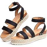 Sandale Plateforme Femme Eté Mode Sandales Espadrilles Compensées Casual Bout Ouvert Plage 5.5CM Noir Marron Kaki Taille 35-4