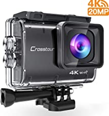 Crosstour Action Cam 4K 20MP Wifi Unterwasser 40M Kamera Anti-Shake Zeitraffer & Loop-Aufnahme Plus 2 Wiederaufladbare 1350mAh Akkus USB-Ladegerät und Zubehör-Sets