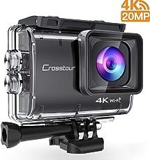 Crosstour Action Cam 4K 20MP Wifi Unterwasser 40M Kamera Anti-Shake Zeitraffer & Loop-Aufnahme Plus 2 Wiederaufladbare 1350mAh Akkus USB-Ladegerät und Zubehör-Sets