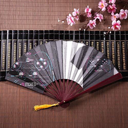 EIJODNL Faltbare Handfächer für Frauen Eine Reihe von Retro-Spiel Griffe mit Bambusrahmen Quaste Anhänger und Stofftasche Bambus Faltbare Fan Fan Handheld Bambus Hand Fan Reisen