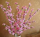 All Products : LanLan Red Silk Peach Blossom Tree 1pc Artificial Flower Cherry Plum Spring Spray Branch Wedding Flower 49.22`