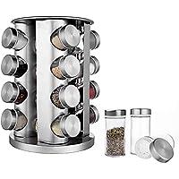 BaoWnylz Présentoir à Épices -16 Pots Verre - Étagère à Épices en Acier Inoxydable Carrousel Epices - Pour Rangement…