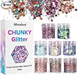 Chunky Glitter, Glitzer Sequin, Glitter Nagel, Glitzer Sequin Chunky Glitter für Gesicht Nägel Augen Lippen Haare Körper, Make Up Glitter Paillette Music Festival Masquerade Halloween Party Christmas Ball - 8 Boxen*10ML