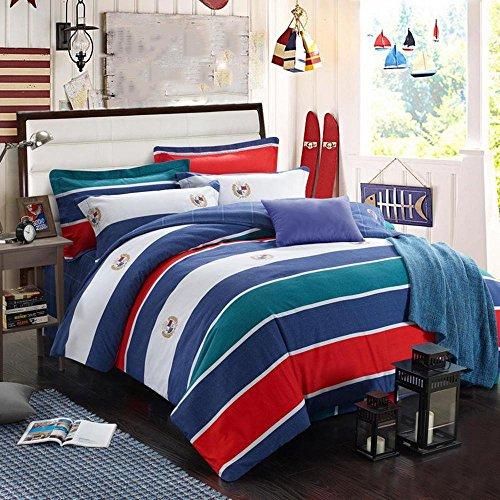 BEIZI Streifen Baumwolle bettwäsche Gitter Mode Elegante Schlafzimmer Set königin/könig größe 4 stücke 1 bettbezug, 1 bettwäsche, 2 Kissenbezüge, 005 -