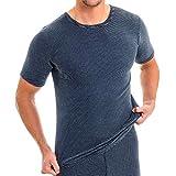 HERMKO 3684005 Herren Thermo kurzarm Unterhemd, Größe:D 10 = EU 4XL, Farbe:Marine Ringel