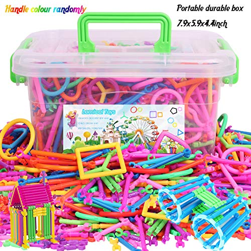 Building Blocks Toys,Lemical 500PCS Deluxe Boys Girls Construction Bars Early Development Learning/Counting Toys DIY Interlocking Magic Sticks Geometry Shapes 3D Intelligence Educational Stacking Toys With Storage Box Christmas Birthday Gift for Kids