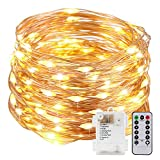 Kohree 33ft (10m) 100 LEDs Fairy Lights Copper Wire Lights - Starry Lights w/ Timer Battery Box ,Rope Lights String Lights for Festival, Christmas, Wedding, Holiday and Party - Warm White, Battery Powered