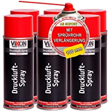 6 Dosen VIKON Druckluft-Spray / Druckluftspray 400 ml mit Sprührohrverlängerung