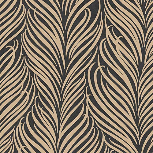 Gold Leaf Wallpaper (Hudson Leaf Glitter Wallpaper Schwarz/Gold Fein Dekor FD41742)