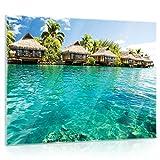 Delester Design gt10228g5decoración pared casas sobre–Zancos en los Maldivas cristal, multicolor (80x 60x 1,60cm