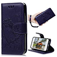 iPhone SE Case & iPhone 5S Case & iPhone 5 Case -Kasos Elegant Love Heart Patterned Embossing Leather Case With Soft Inner TPU Protective Line Stand Wallet Cover Hand Wrist Strap With ID / Cash / Card Slots for iPhone 5 / 5S / SE