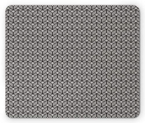 , modernes geometrisches Gitter-aufwändiges grafisches Gitter-Maschen-Fliesen-Mosaik-Druck wiederholend, Standardgrößen-Rechteck-rutschfestes Gummi-Mousepad, Schwarzes und Elfenbei ()
