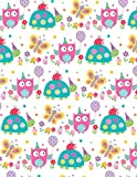 2 Sheets Girls Owl, Tortoise, Butterfly Wrapping Paper & 1 Matching Gift Tag