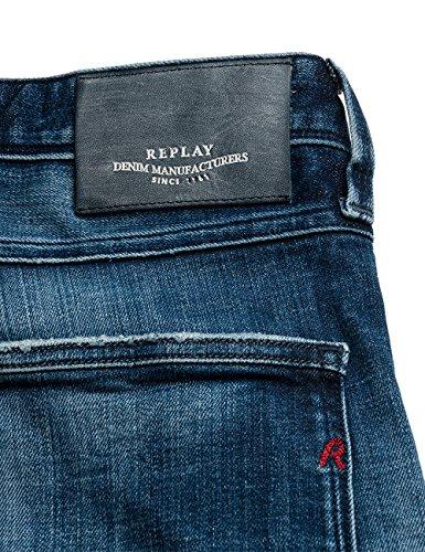 Replay Anbass Front Zip, Jeans Homme Bleu (Blue Denim)
