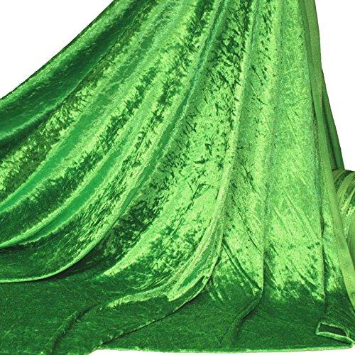 TOLKO Dekostoff - Pannesamt Meterware mit Stretch zum Nähen, Basteln und Dekorieren (Smaragd-Grün)