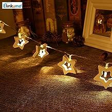 ELINKUME 3,3 Pies hadas luces blanco cálido 10 LEDs madera cadena estrellas luces - Ideal para bodas, Navidad, partidaria, decoración del hogar