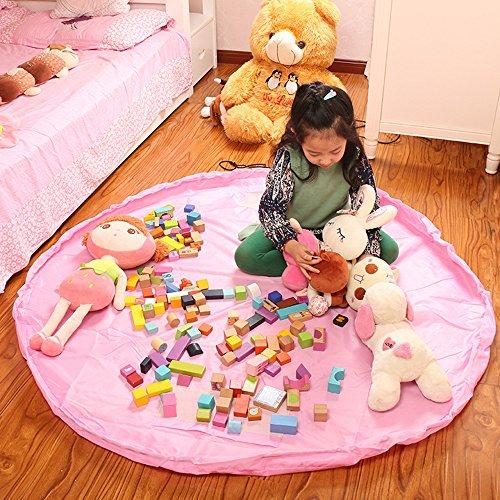 ihope nuevo 150cm portátil bolsa de almacenamiento para juguetes organizador de alfombra de juegos juguete tamaño grande 60'