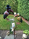 Regenmesser Gartenstecker Rabenpaar Vogel Metall Glas