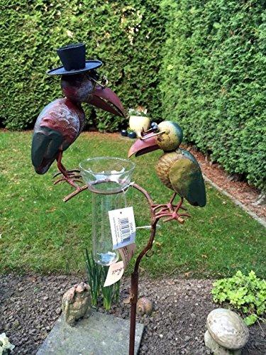 Regenmesser Gartenstecker Rabenpaar Vogel Metall Glas Bunt H 136 cm°