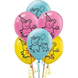 HK balloons® Peppa Pig Balloons for Decoration , Medium (Blue, Yellow & Pink) - Pack of 30