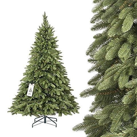 FAIRYTREES Weihnachtsbaum künstlich ALPENFICHTE PREMIUM, Material MIX aus Spritzguss & PVC, inkl. Metallständer, 180cm