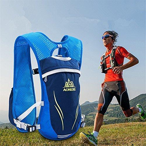 AONIJIE Unisex 5.5L Running Race Hidratación Chaleco Hidratación Pack Mochila Azul