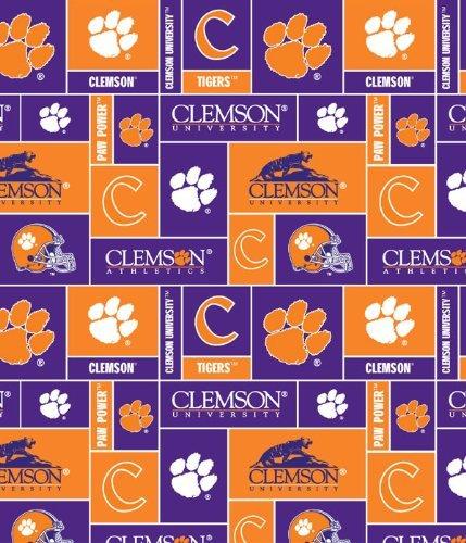 College Clemson University Tigers Print Fleece Fabric By the Yard by Field's Fabrics Clemson University Prints
