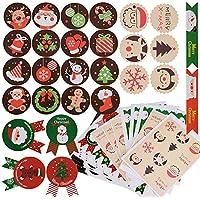 288pcs Pegatina Navidad Etiqueta Adhesiva Redonda Papel Decoración Cajas Regalos Bombones Caramelo Fiesta Sello Bolsas 24 hojas