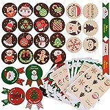 288pcs Pegatina Navidad Etiqueta Adhesiva Redonda Papel Decoración Cajas Regalos Bombones...